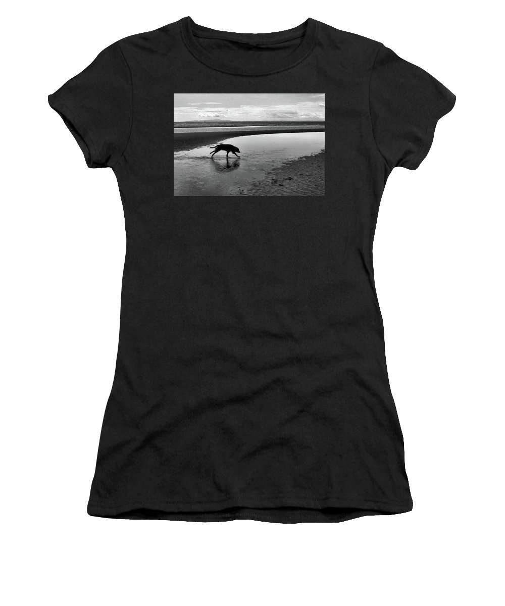 Abstract Women's T-Shirt (Athletic Fit) featuring the photograph Running Dog Bw by Lyle Crump