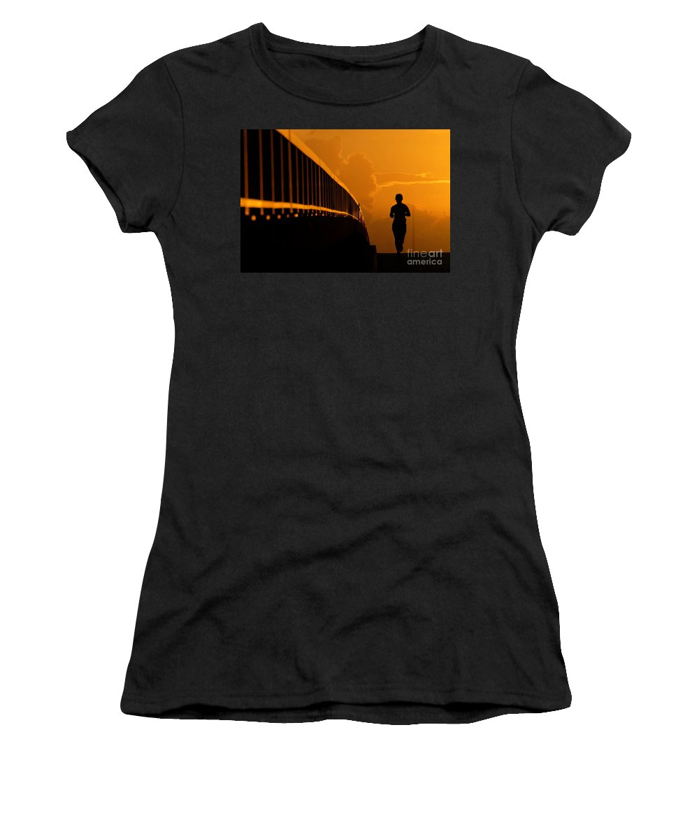 Running Women's T-Shirt (Athletic Fit) featuring the photograph Running Girl by David Lee Thompson