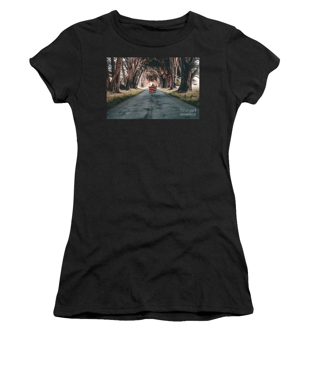 Forest Women's T-Shirt (Athletic Fit) featuring the photograph Running In The Forest by Halid Kalkan