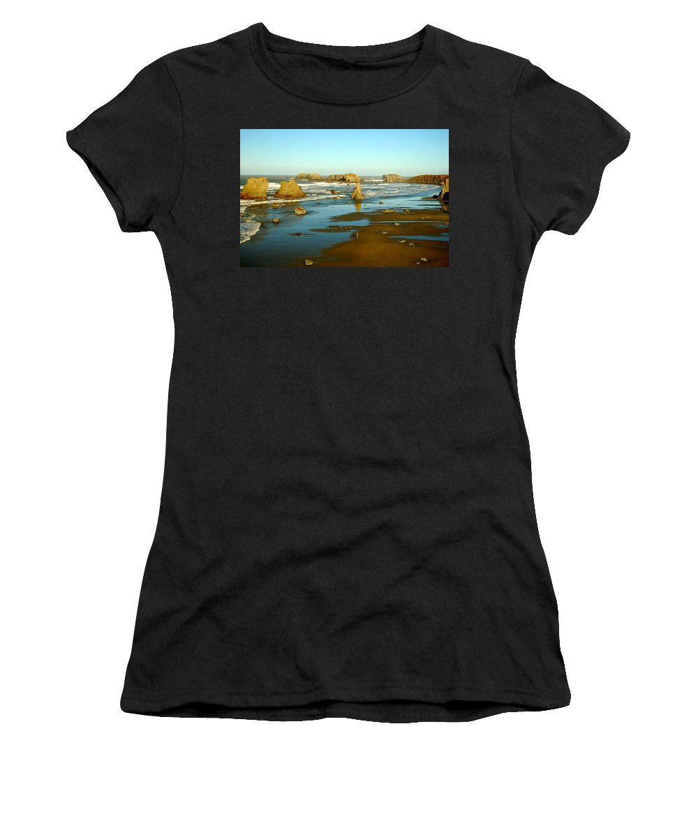 Beach Women's T-Shirt (Athletic Fit) featuring the photograph Running On The Beach by Neal Itzkowitz