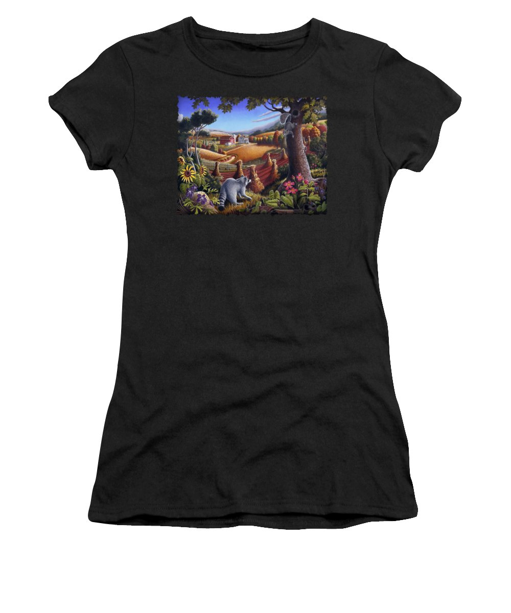 Rural Women's T-Shirt featuring the painting Rural Country Farm Life Landscape Folk Art Raccoon Squirrel Rustic Americana Scene by Walt Curlee