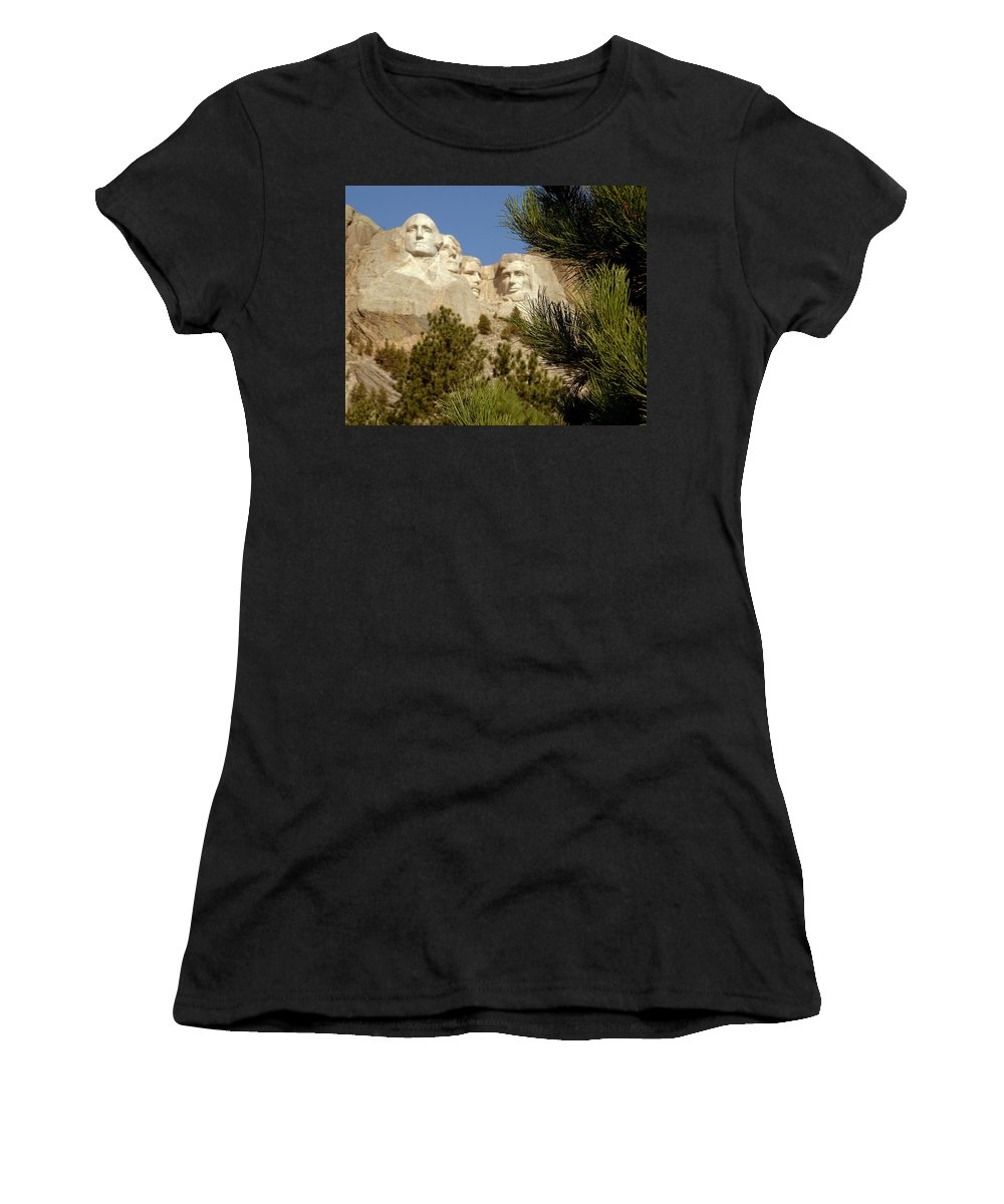 Mount Rushmore Women's T-Shirt (Athletic Fit) featuring the photograph Rushmore Pine Needles by Mike Oistad