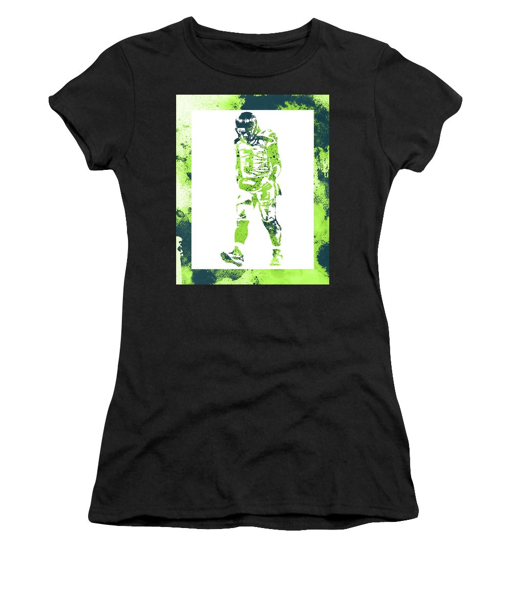 Russell Wilson Women's T-Shirt (Athletic Fit) featuring the mixed media Russell Wilson Seattle Seahawks Water Color Art 2 by Joe Hamilton