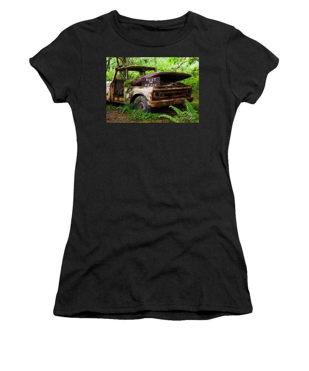Rusted Truck Women's T-Shirt (Athletic Fit) featuring the photograph Rust In Peace 2 by Bruce Chevillat