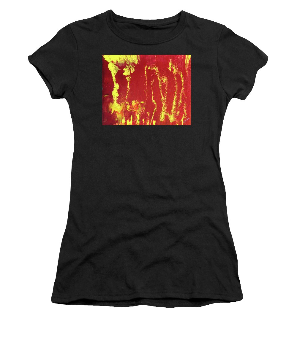 Fusionart Women's T-Shirt (Athletic Fit) featuring the painting Rusted Sun by Ralph White