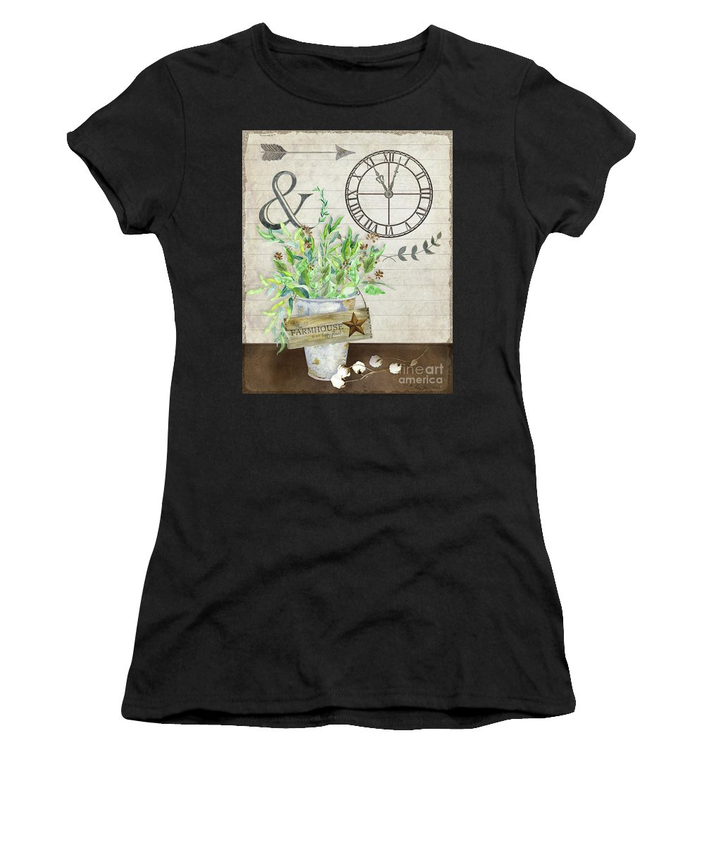 Rustic Women's T-Shirt (Athletic Fit) featuring the painting Rustic Farmhouse Our Happy Place by Audrey Jeanne Roberts