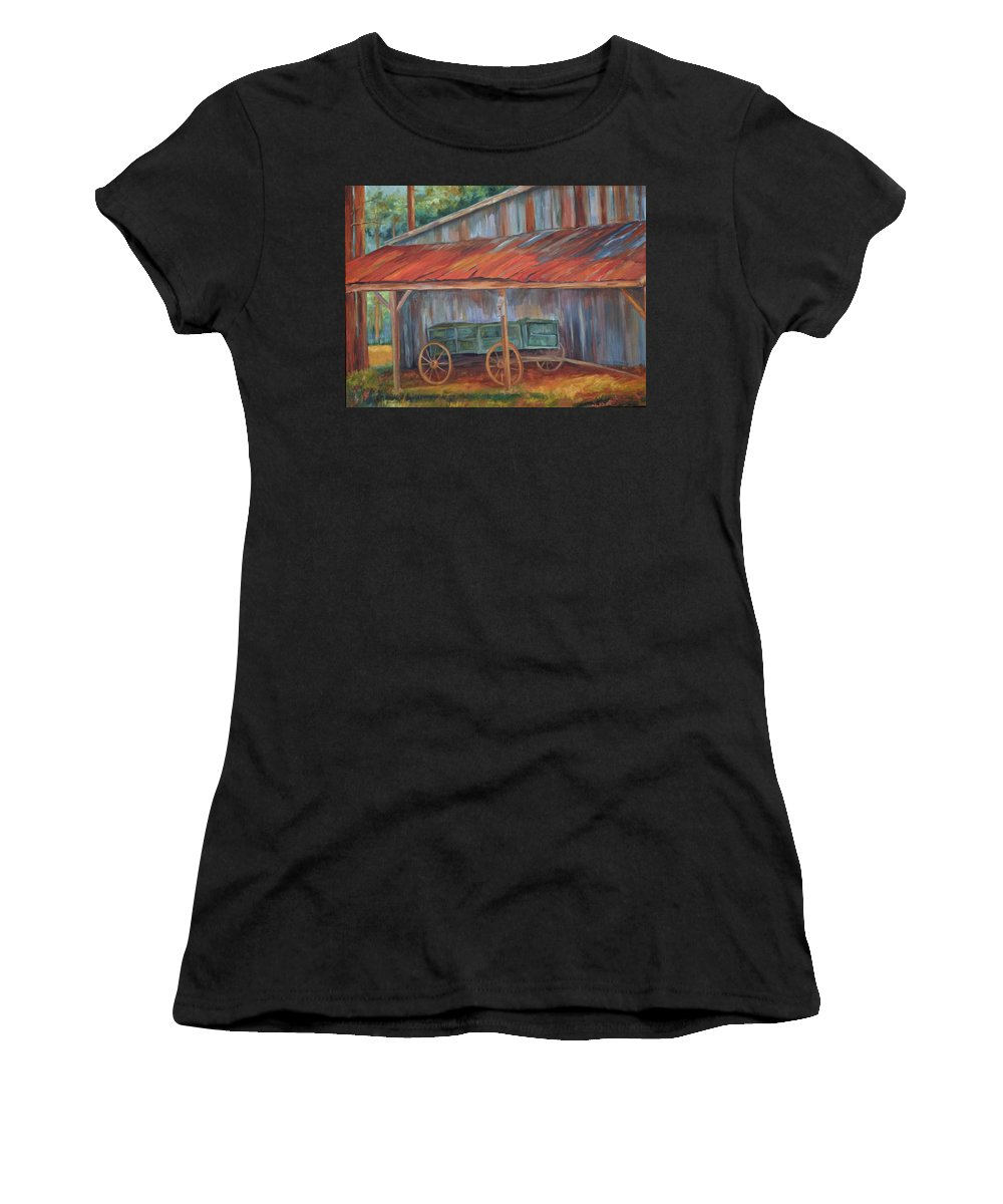 Old Wagons Women's T-Shirt (Athletic Fit) featuring the painting Rustification by Ginger Concepcion