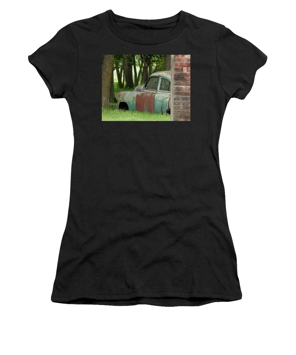 Car Women's T-Shirt (Athletic Fit) featuring the photograph Rustmobile And Shack by Curtis Tilleraas