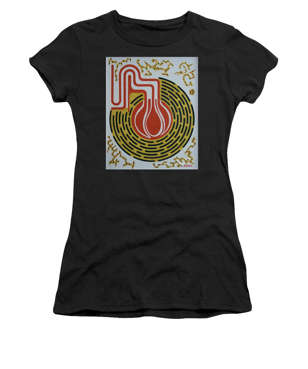 Abstract Women's T-Shirt (Athletic Fit) featuring the painting Rythme Circulatoire by Bernard Tulula