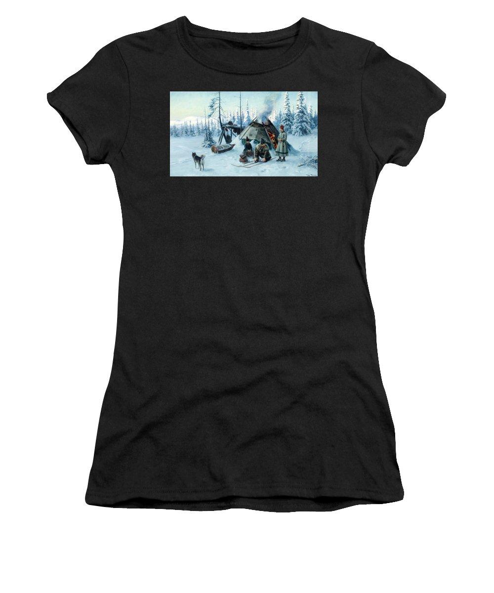Johan Tiren Women's T-Shirt featuring the painting Saami Family At The Hut by Johan Tiren