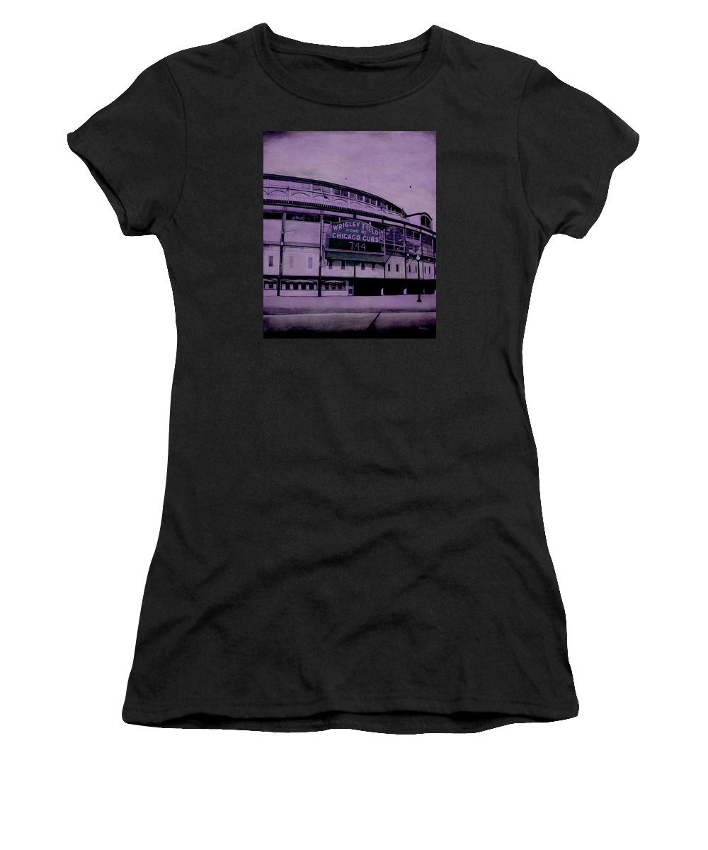 Wrigley Field Women's T-Shirt featuring the painting Sacred Spaces 3 by Joe Michelli