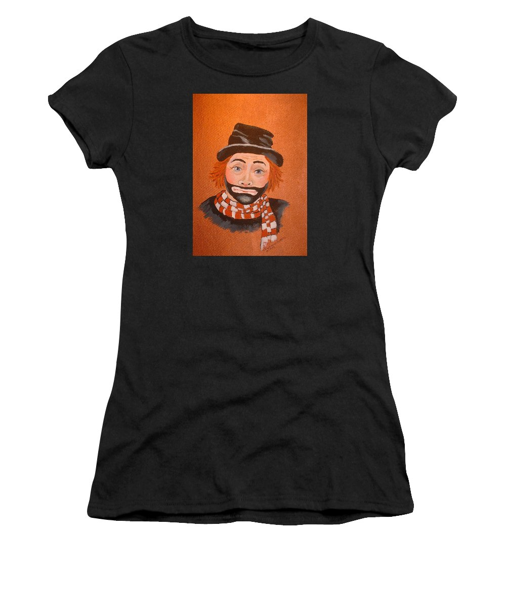 Sad Sack The Clown Women's T-Shirt (Athletic Fit) featuring the painting Sad Sack The Clown by Arlene Wright-Correll