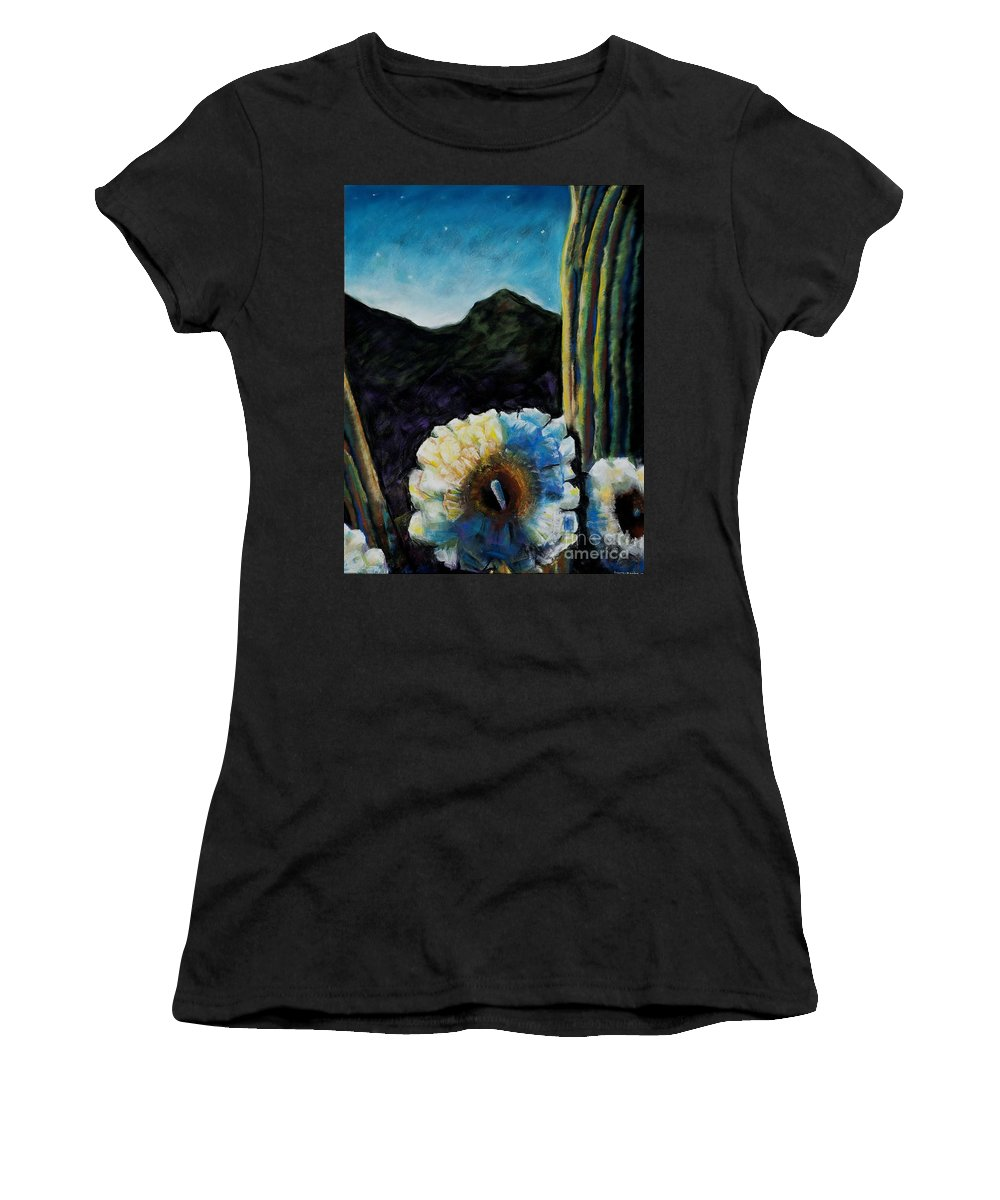 Desert Women's T-Shirt (Athletic Fit) featuring the painting Saguaro In Bloom by Frances Marino