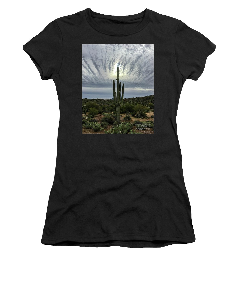 Sun Women's T-Shirt (Athletic Fit) featuring the photograph Saguaro Sun Break Clouds by Katie Brown