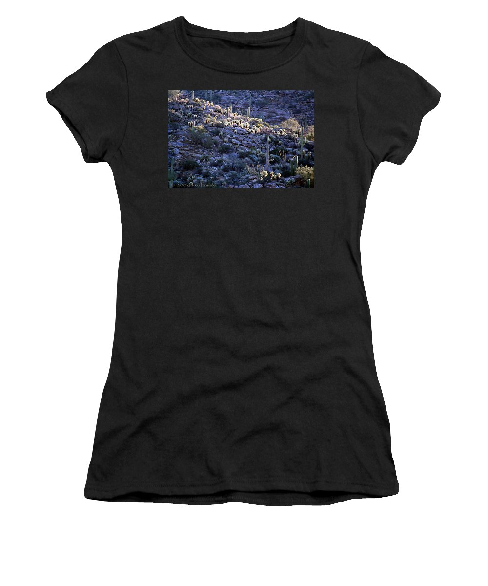 Cactus Women's T-Shirt (Athletic Fit) featuring the photograph Saguaro Sunrise by Joe Kozlowski