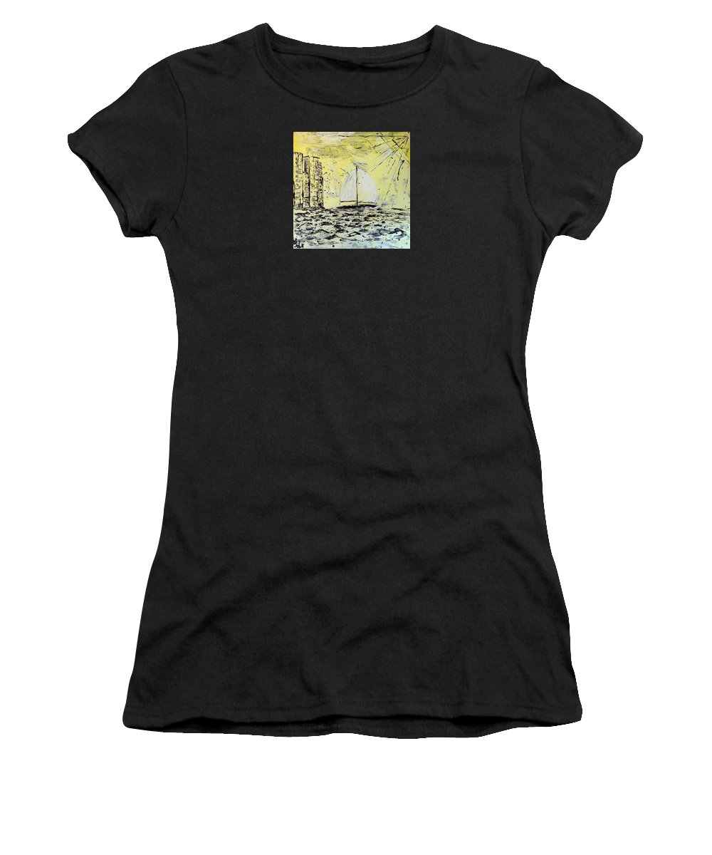 Abstract Women's T-Shirt (Athletic Fit) featuring the painting Sail And Sunrays by J R Seymour