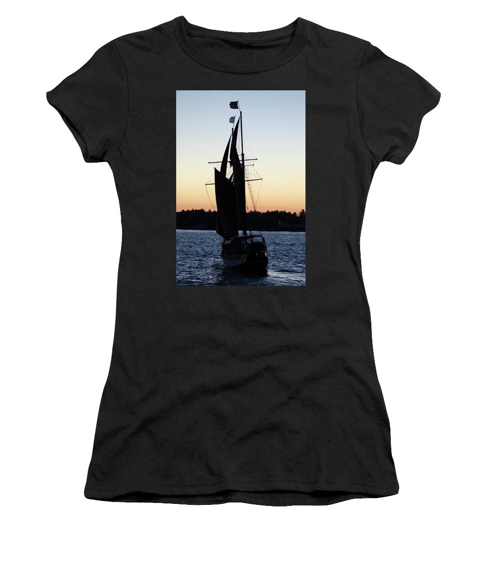 Boat Women's T-Shirt (Athletic Fit) featuring the photograph Sailing At Sunset by Jim Shackett