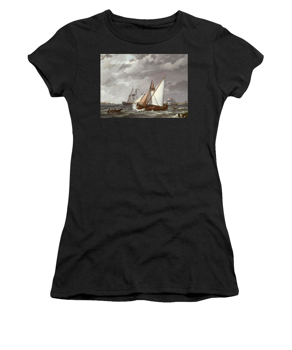 Johannes Hermanus Koekkoek Women's T-Shirt (Athletic Fit) featuring the painting Sailing Boats On A Choppy Sea by Johannes Hermanus Koekkoek