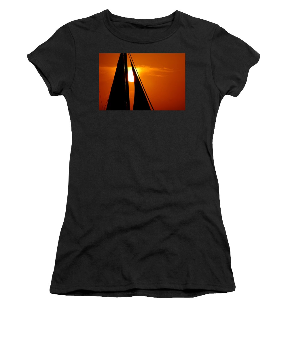 Photography Women's T-Shirt (Athletic Fit) featuring the photograph Sailing Into The Sunset by Susanne Van Hulst