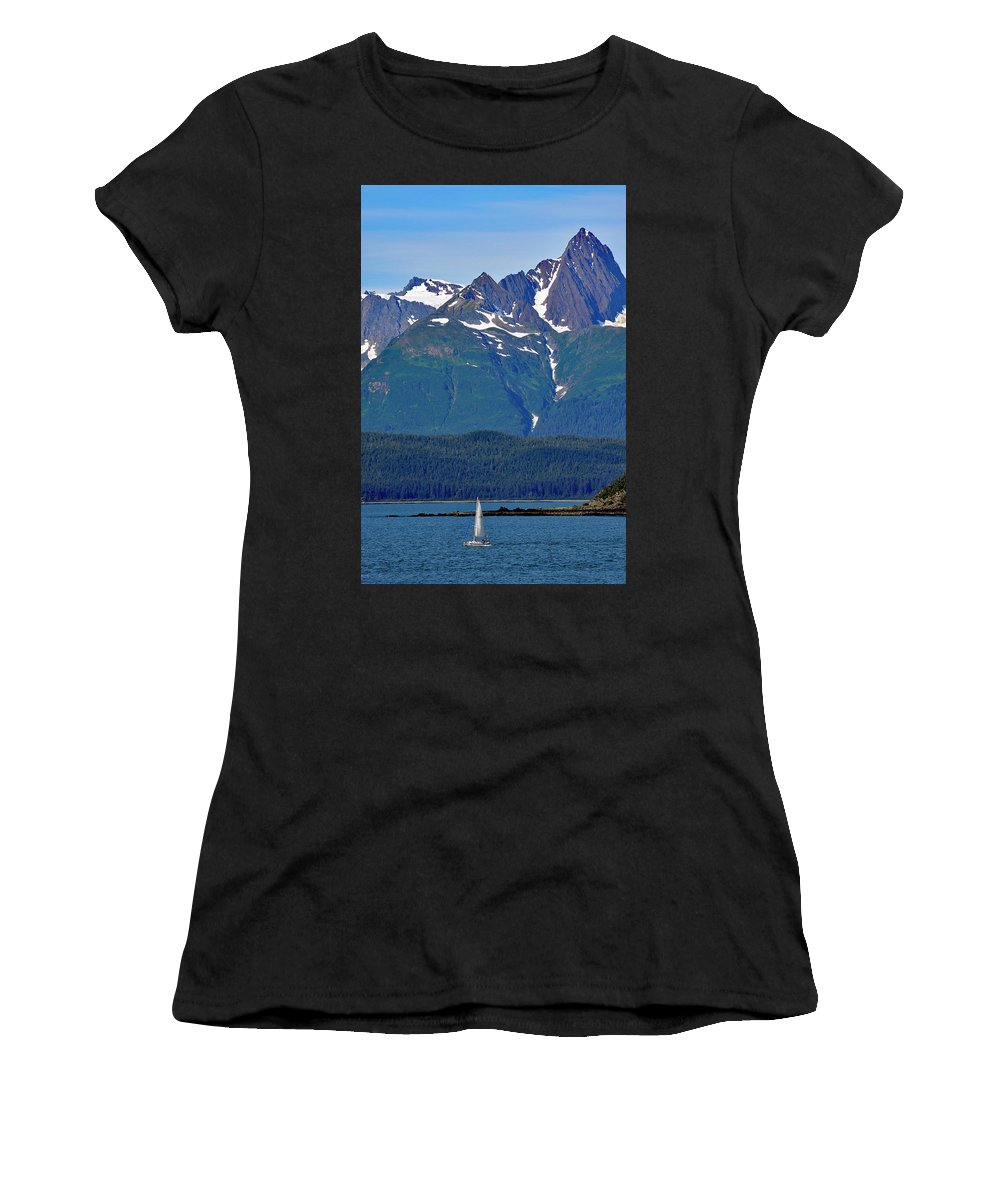 Boat Women's T-Shirt featuring the photograph Sailing Lynn Canal by Cathy Mahnke