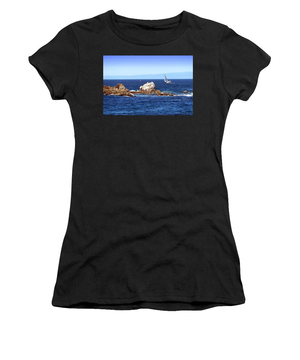 Monterey Women's T-Shirt (Athletic Fit) featuring the photograph Sailing Monterey Bay by Joyce Dickens