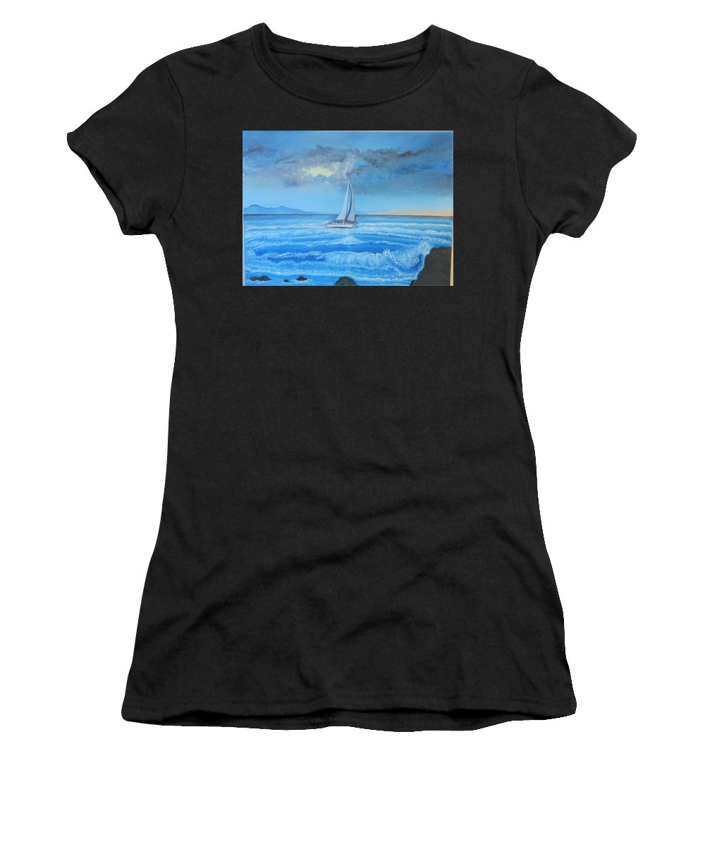 Sailing Women's T-Shirt (Athletic Fit) featuring the painting Sailing Through The Storm by Lana Fultz