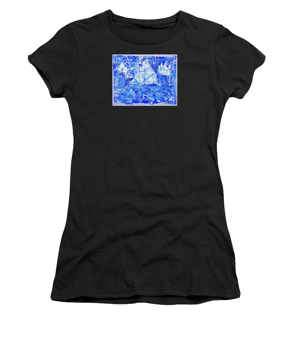 Sailing Women's T-Shirt (Athletic Fit) featuring the painting Sailing With Friends by J R Seymour