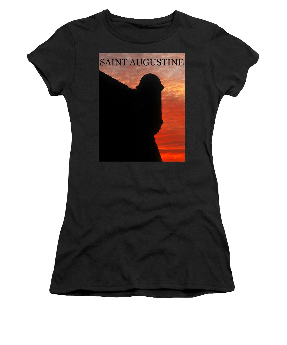 Saint Augustine Florida Women's T-Shirt (Athletic Fit) featuring the photograph Saint Augustine Old Fort by David Lee Thompson