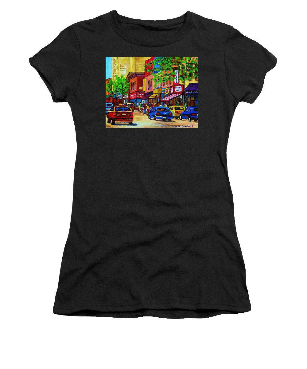 Cityscape Women's T-Shirt (Athletic Fit) featuring the painting Saint Lawrence Street by Carole Spandau