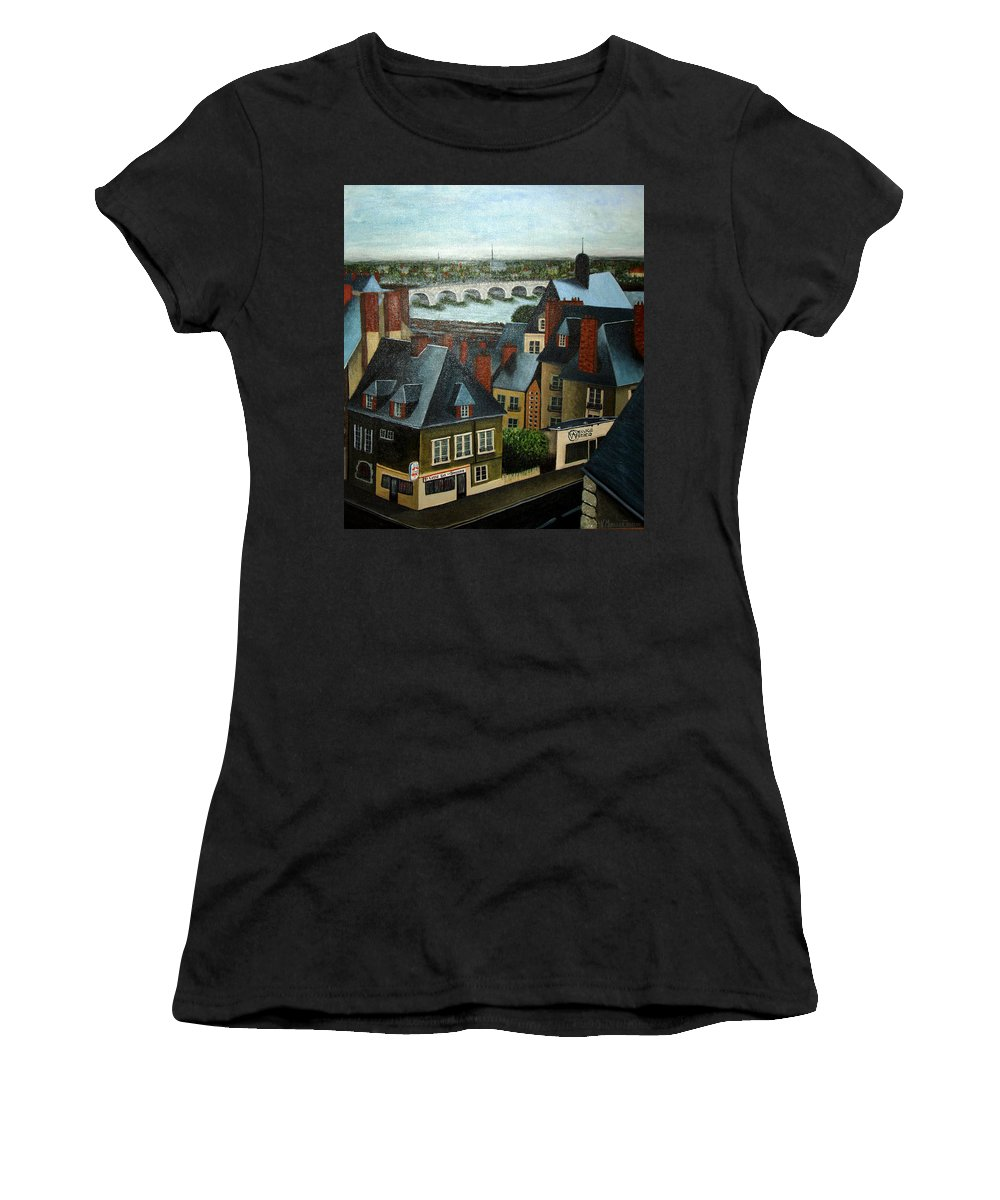 Acrylic Women's T-Shirt (Athletic Fit) featuring the painting Saint Lubin Bar In Lyon France by Nancy Mueller