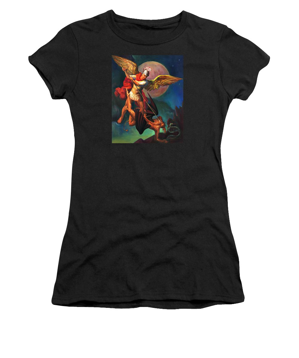 Bible Women's T-Shirt (Athletic Fit) featuring the painting Saint Michael The Warrior Archangel by Svitozar Nenyuk