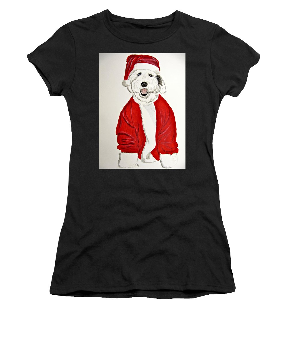 Old English Sheepdog Women's T-Shirt featuring the painting Saint Nick by Carol Blackhurst