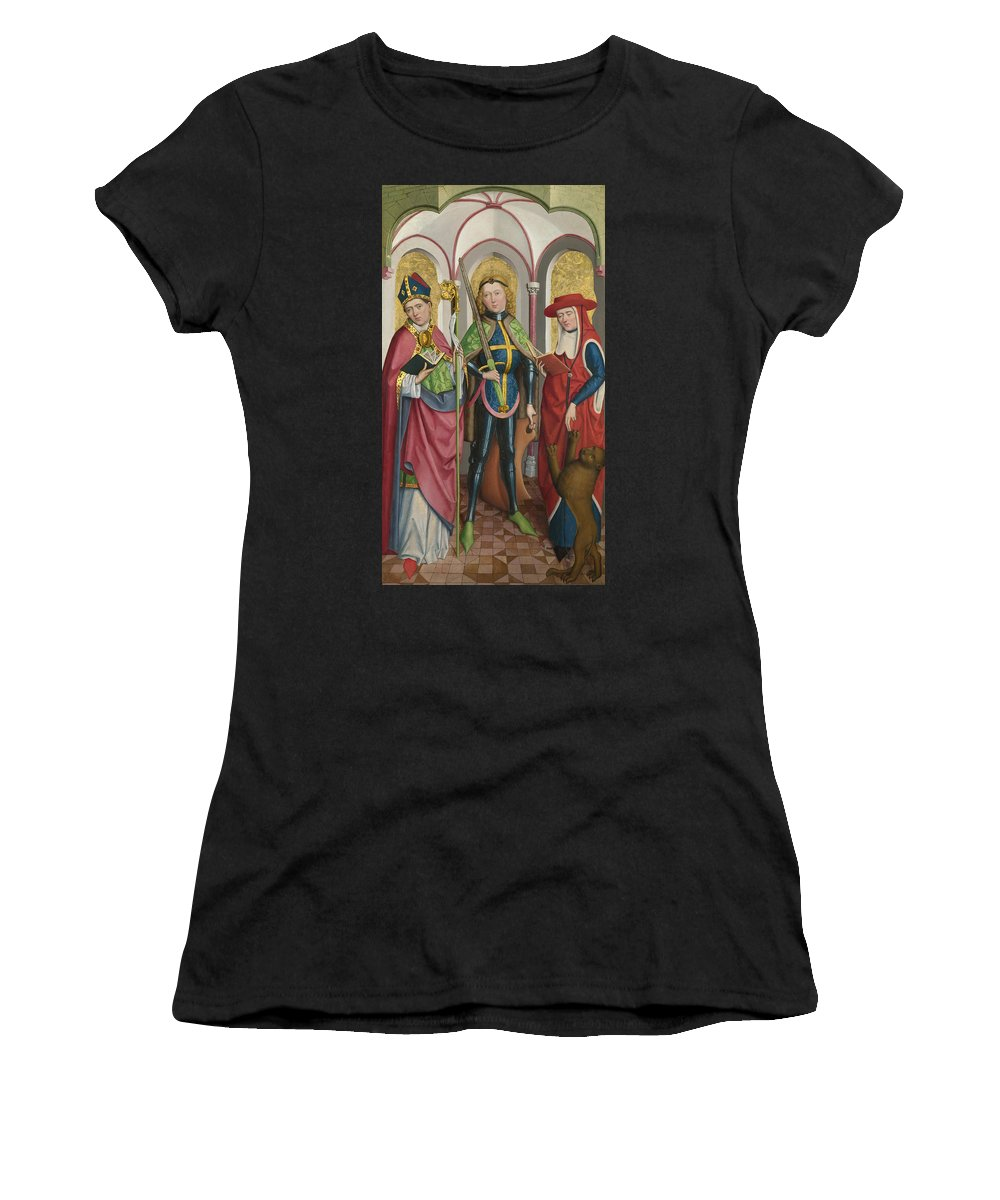 Circle Women's T-Shirt (Athletic Fit) featuring the digital art Saints Ambrose Exuperius And Jerome by PixBreak Art