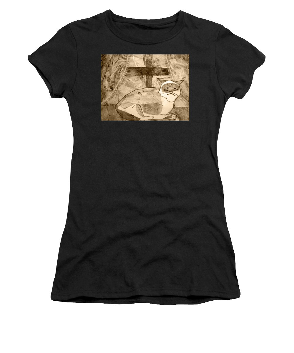 Abstract Women's T-Shirt (Athletic Fit) featuring the mixed media Samantha by April Patterson