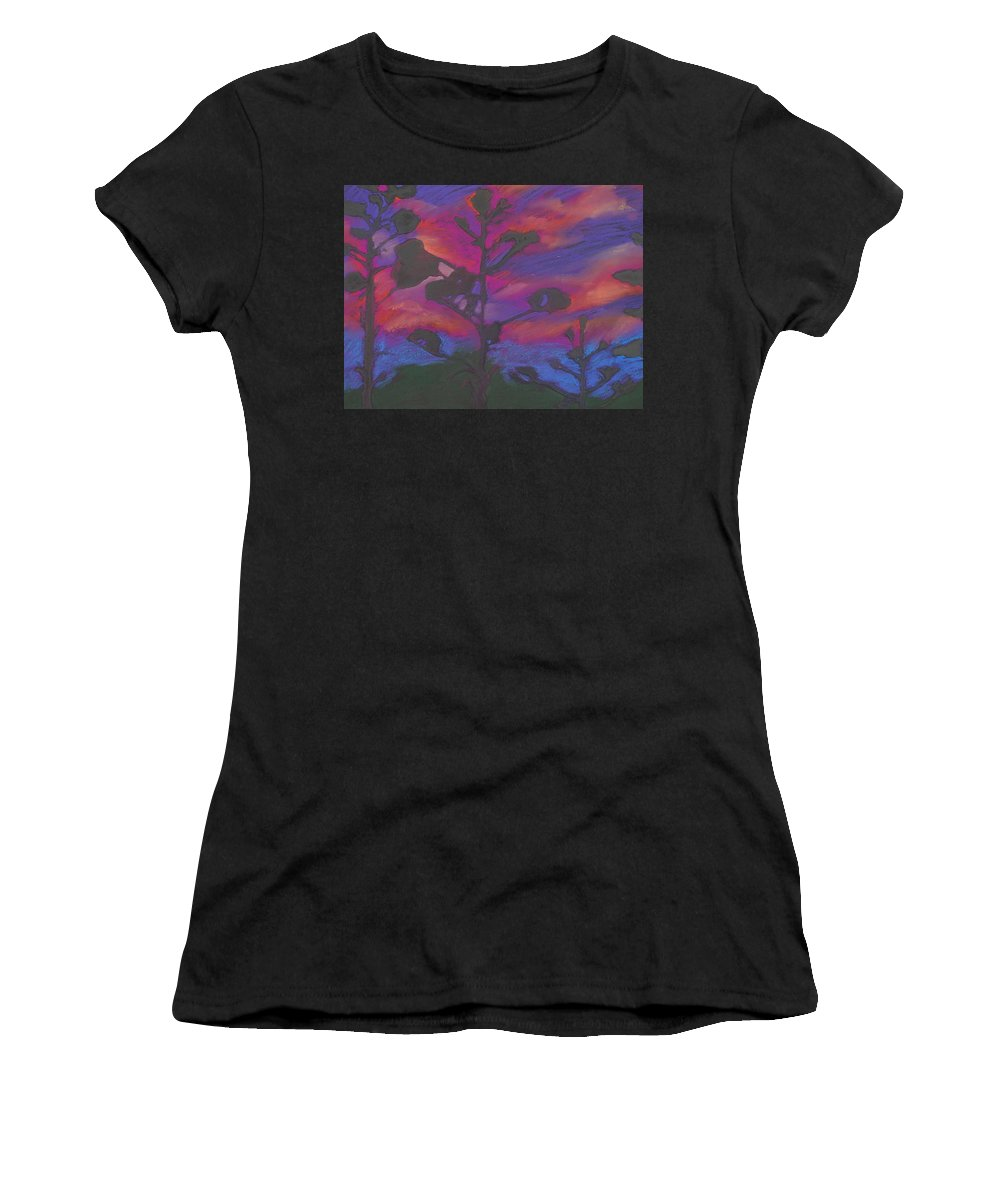 Contemporary Tree Landscape Women's T-Shirt (Athletic Fit) featuring the mixed media San Diego Sunset by Leah Tomaino