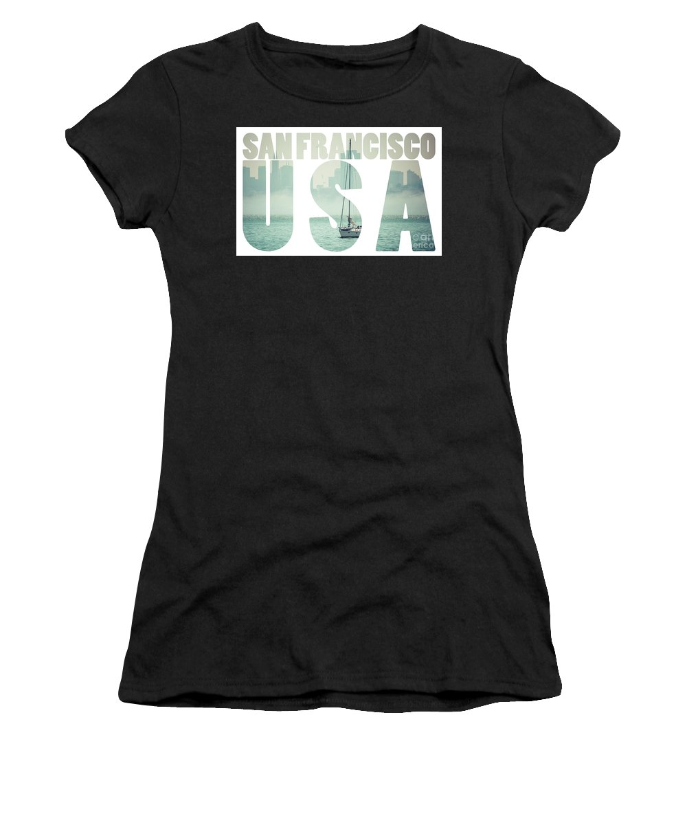 Architecture Women's T-Shirt (Athletic Fit) featuring the photograph San Francisco Downtown Cityscape, California, Usa by Mariusz Prusaczyk