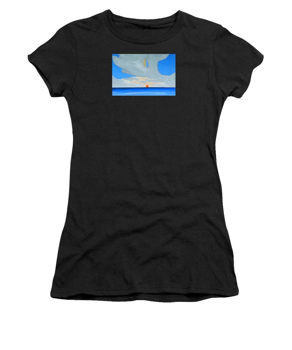 Sunrise Seascape Women's T-Shirt featuring the painting San Juan Sunrise by Dick Sauer