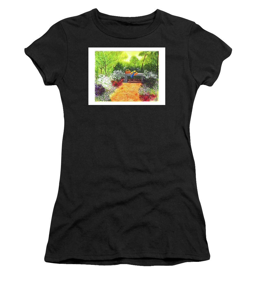 Garden Painting Women's T-Shirt featuring the painting Sanctuary by Patricia Griffin Brett
