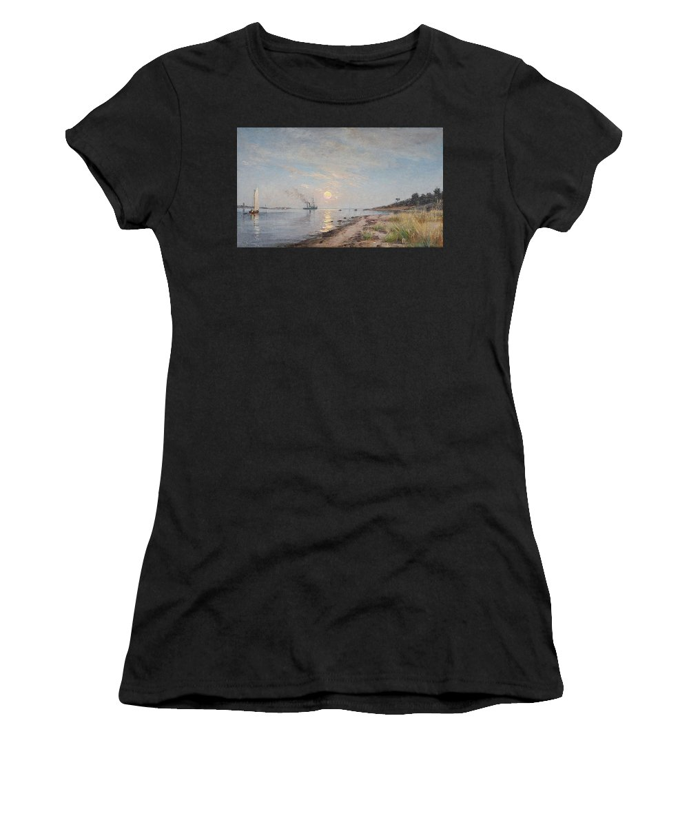 Axel Lindman 1848-1930 Sandhamn In The Sunset Women's T-Shirt featuring the painting Sandhamn In The Sunset by Axel Lindman