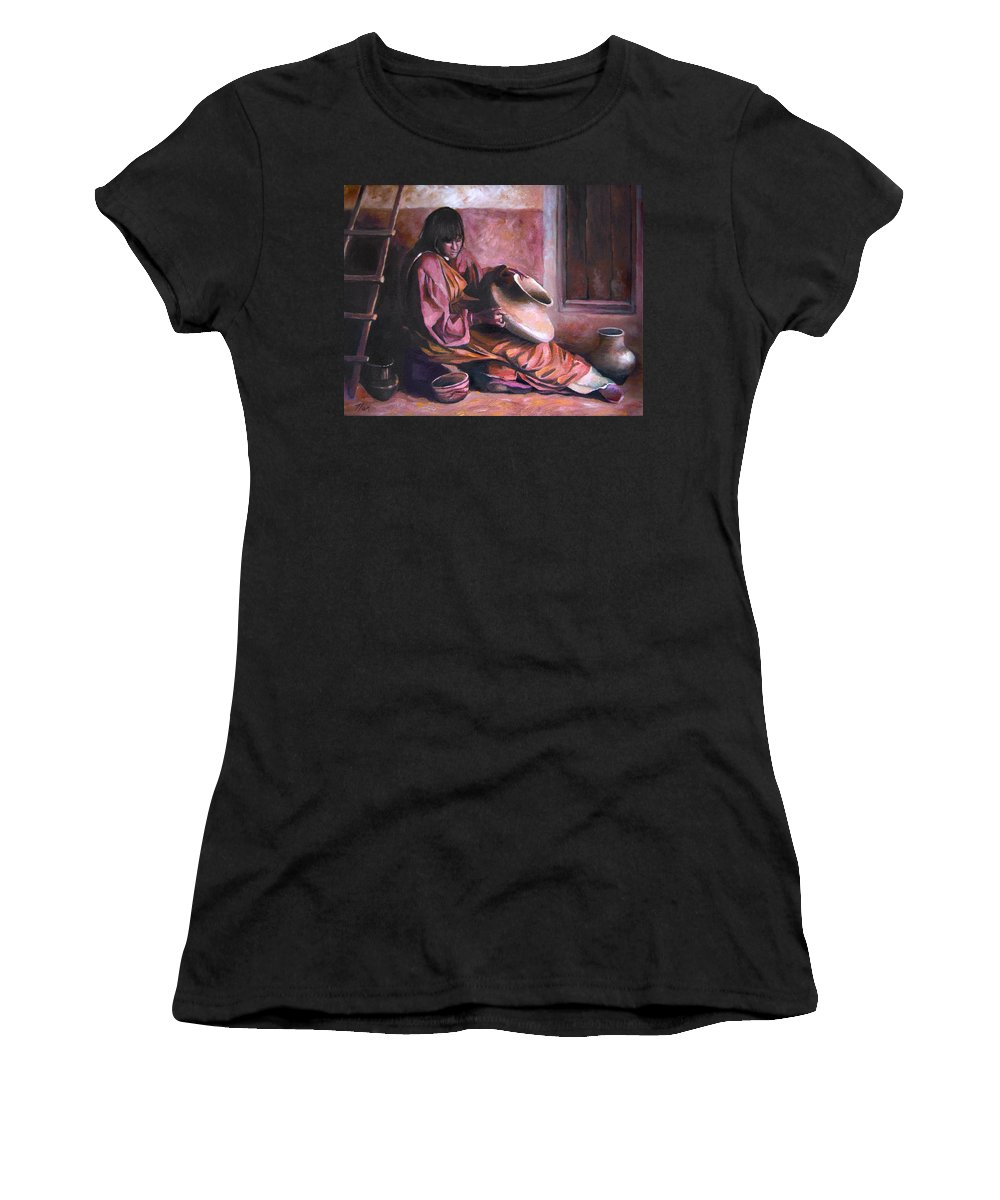 Native American Women's T-Shirt featuring the painting Santa Clara Potter by Nancy Griswold