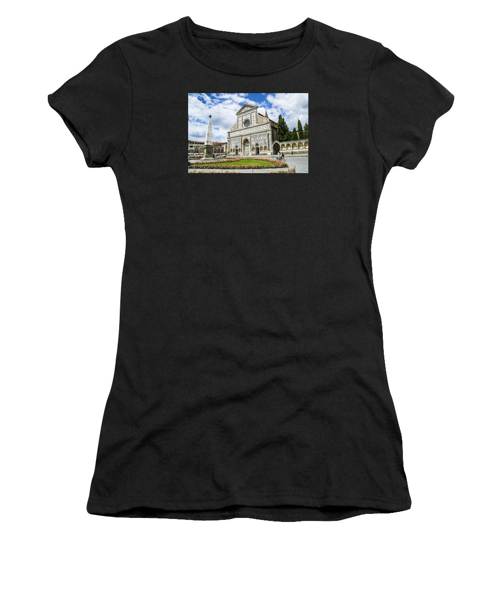 Basilica Of Santa Maria Novella Women's T-Shirt (Athletic Fit) featuring the photograph Santa Maria Novella by Ross Turiano