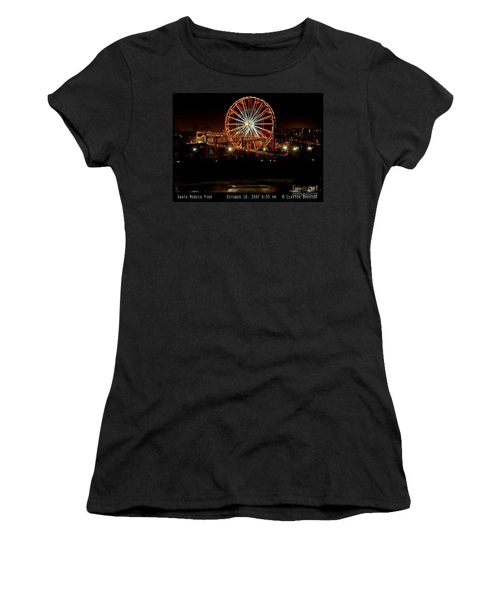Clay Women's T-Shirt (Athletic Fit) featuring the photograph Santa Monica Pier October 18 2007 by Clayton Bruster