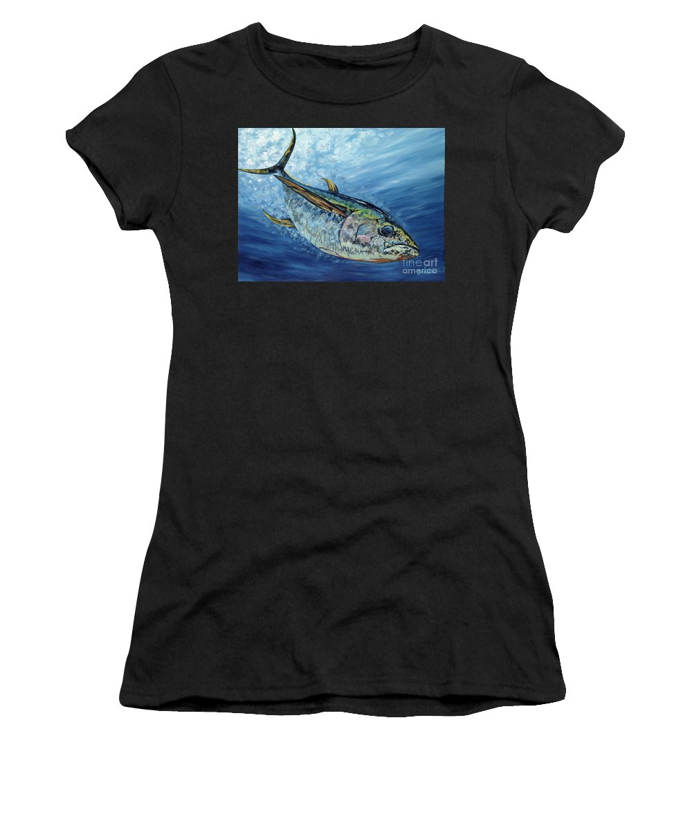 Yellow Fin Tuna Women's T-Shirt (Athletic Fit) featuring the painting Sashimi by Danielle Perry