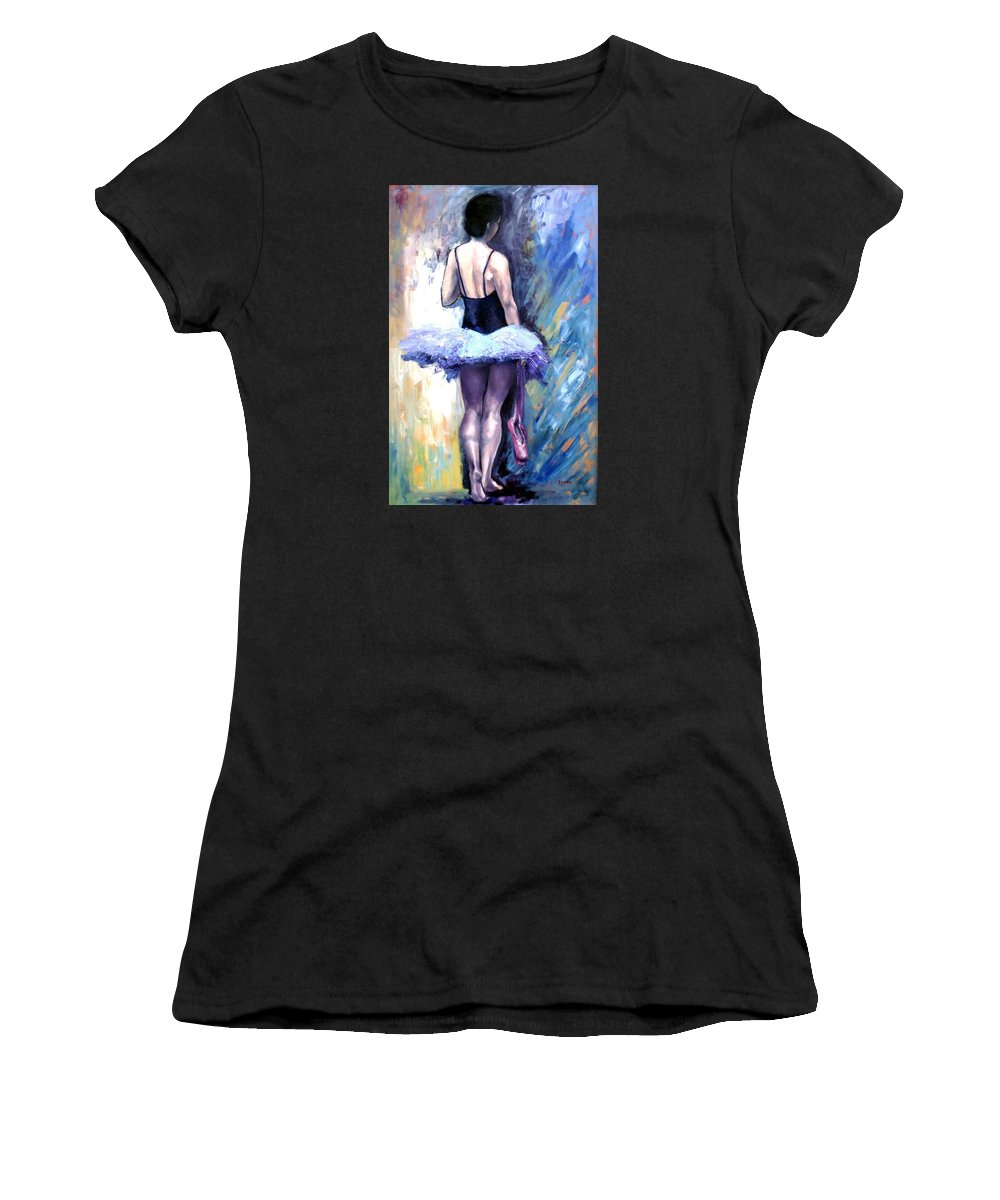 Ballerina Women's T-Shirt (Athletic Fit) featuring the painting Satin Shoes by Janet Lavida