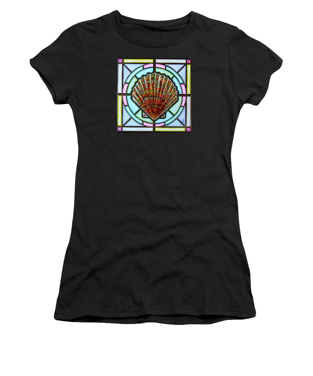 She Shells Women's T-Shirt (Athletic Fit) featuring the painting Scallop Shell 1 by Jim Harris