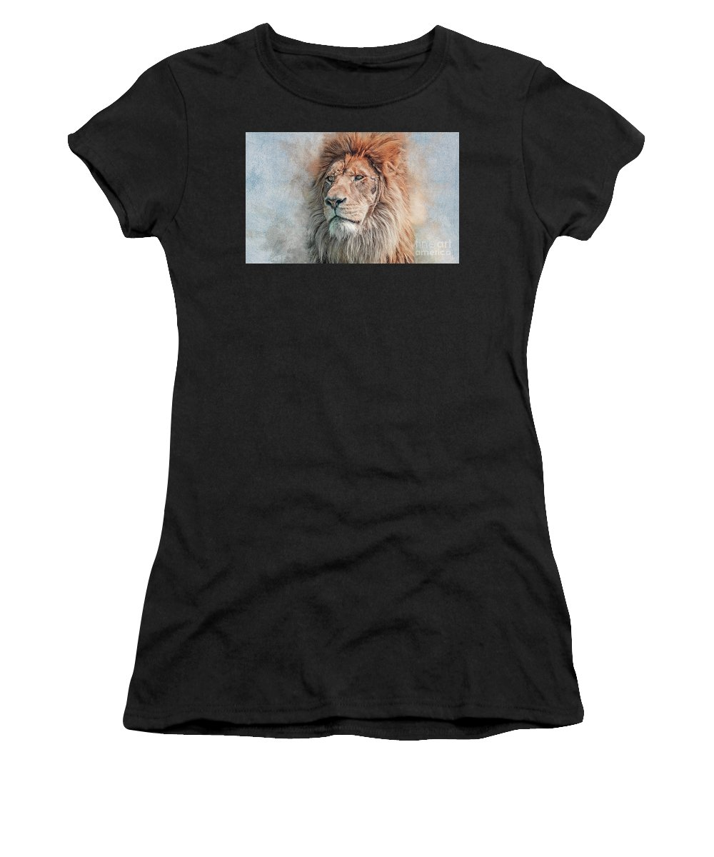 African Lion Women's T-Shirt (Athletic Fit) featuring the photograph Scarface by Brian Tarr