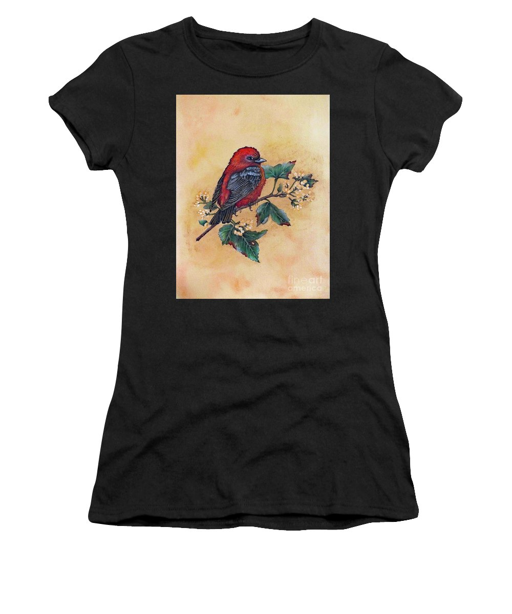 Scarlet Tanager Women's T-Shirt featuring the painting Scarlet Tanager - Acrylic Painting by Cindy Treger