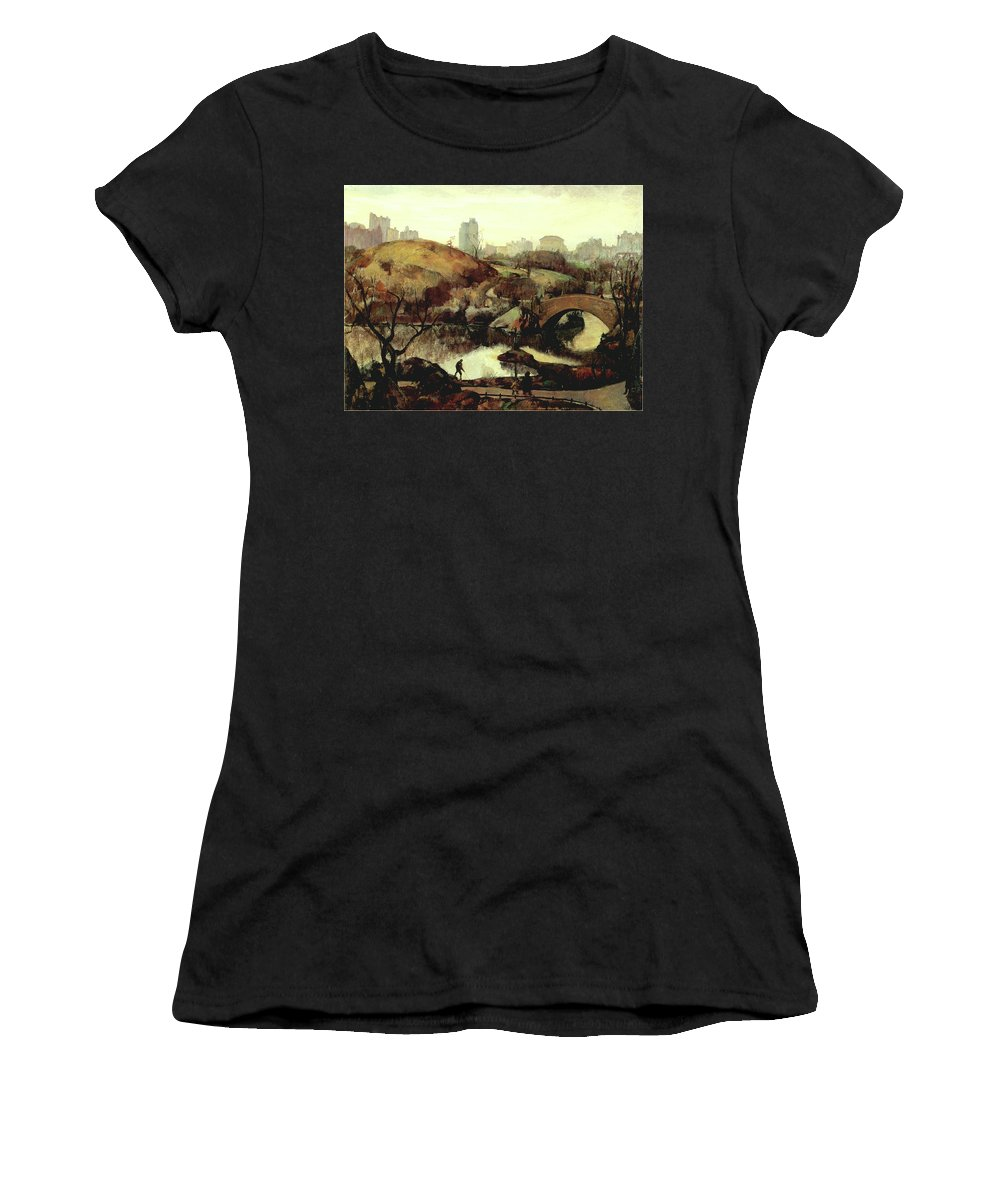 Leon Kroll Women's T-Shirt featuring the photograph Scene In Central Park by Leon Kroll