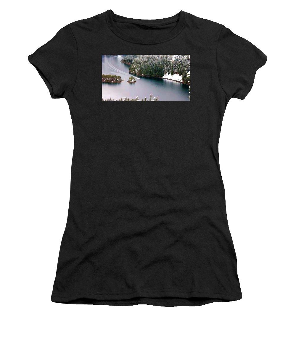 Scene Over Diablo Lake Women's T-Shirt featuring the painting Scene Over Diablo Lake by Jeelan Clark