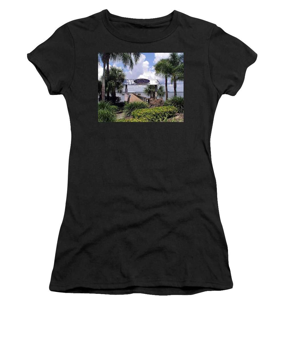 Melbourne Beach; Melbourne; Beach; Florida Usa; Brevard; Pier; Wharf; Scenic; River; Indian; Clouds; Women's T-Shirt (Athletic Fit) featuring the photograph Scenic Melbourne Beach Pier Florida by Allan Hughes